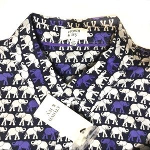 Crown & Ivy Elephant Button Front Shirt NWT XS